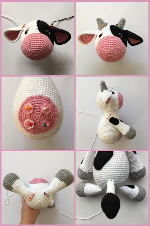 instructions on how to assemble crochet cow toy