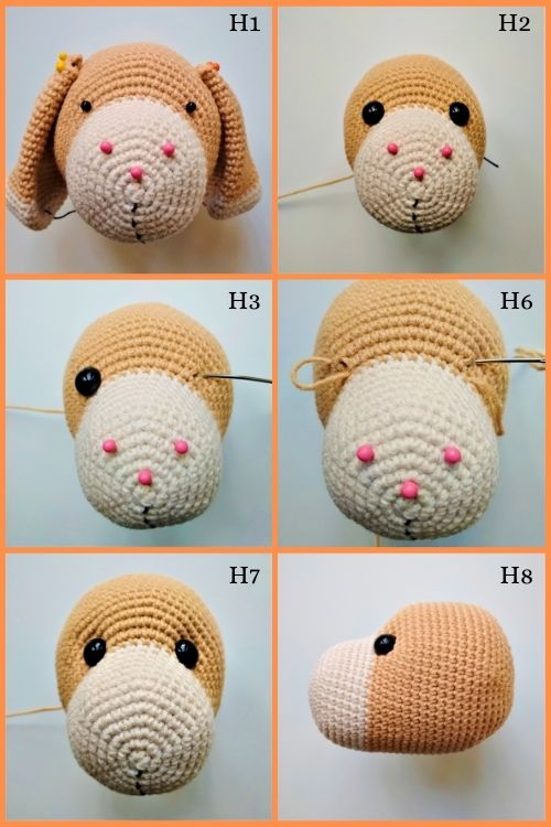 instructions on how to assemble crochet dog head