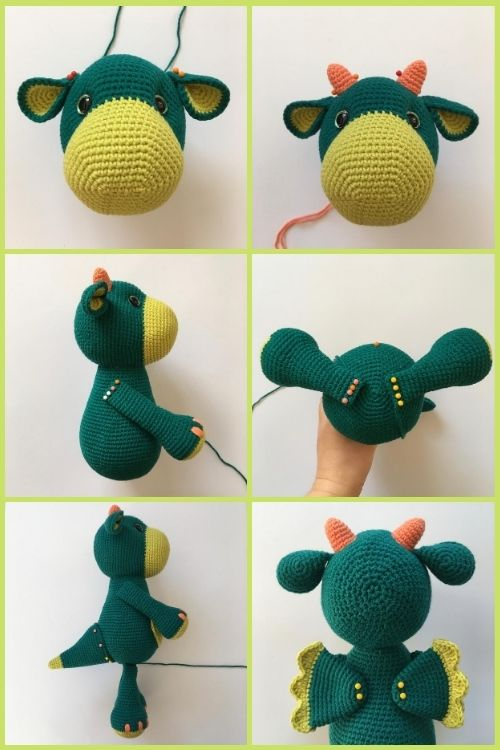 instructions on how to assemble crochet dragon toy