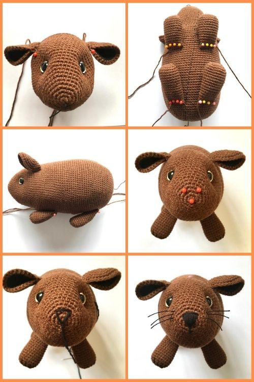instructions on how to assemble crochet guinea pig toy