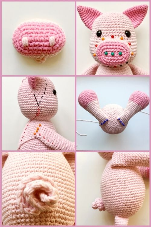 instructions on how to assemble crochet pig toy