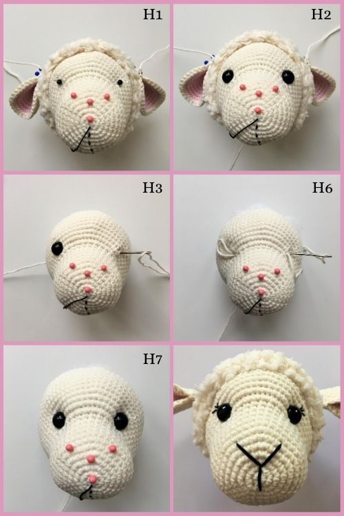 instructions on how to sculpt crochet sheep eyes