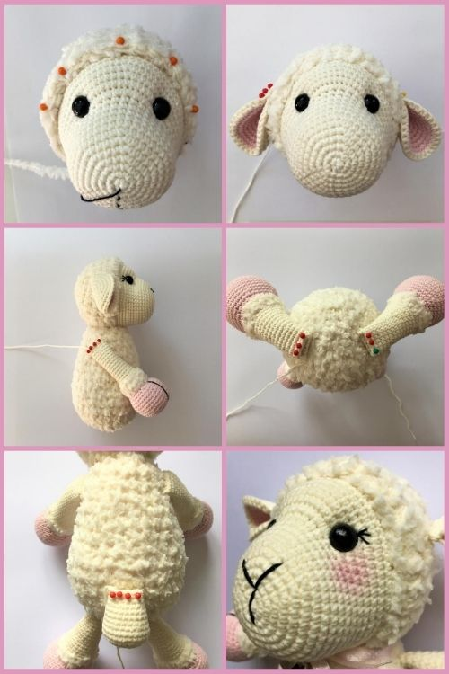instructions on how to assemble crochet sheep toy