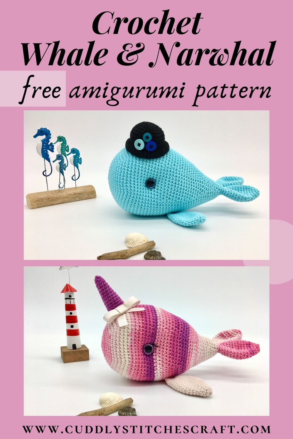 Free whale and narwhal crochet patterns (8)