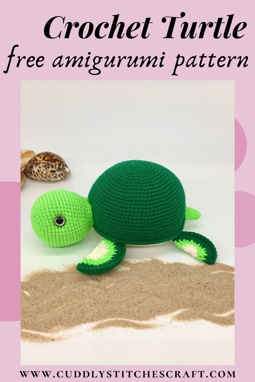 Free crochet turtle pattern, Amigurumi turtle tutorial (8)