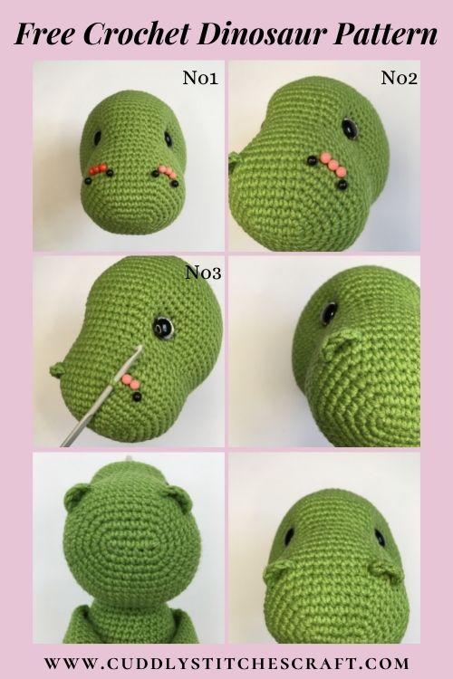 Free dinosaur crochet pattern, free Amigurumi dinosaur pattern, T-rex (4)