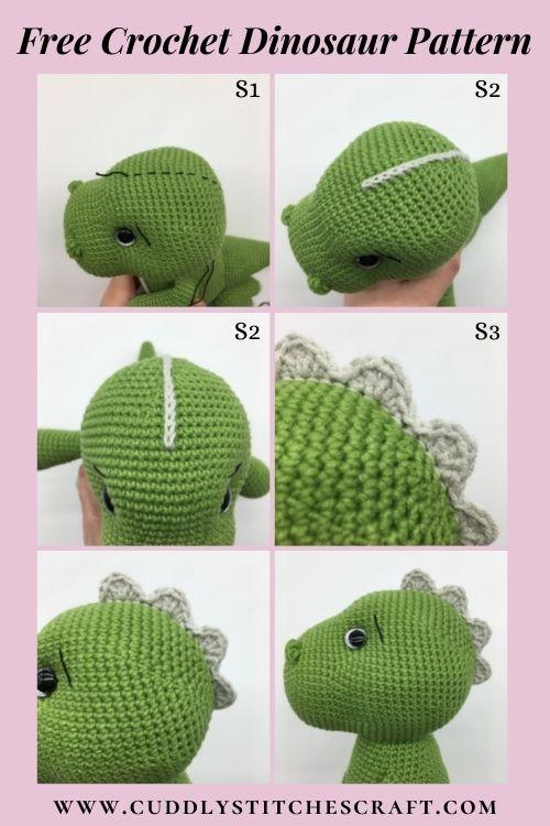 Free dinosaur crochet pattern, free Amigurumi dinosaur pattern, T-rex (7)