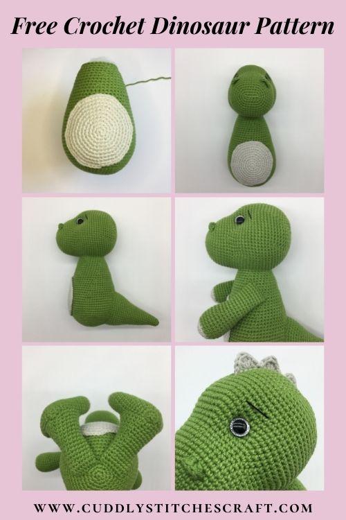 Free dinosaur crochet pattern, free Amigurumi dinosaur pattern, T-rex (8)