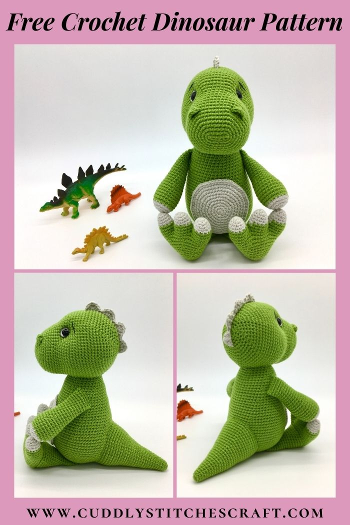 Free dinosaur crochet pattern, free Amigurumi dinosaur pattern, T-rex