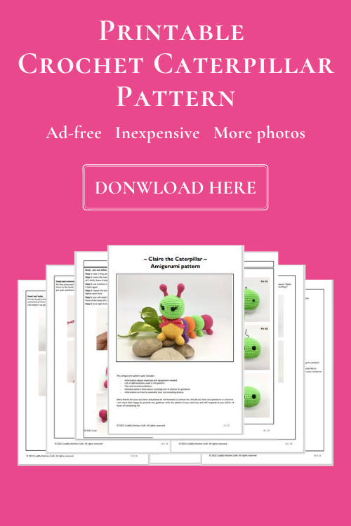 crochet caterpillar pattern, Amigurumi caterpillar pattern