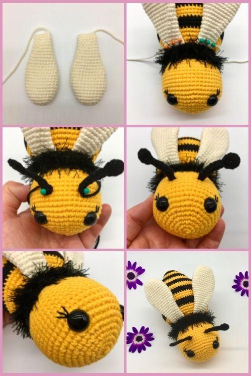 Free crochet bee pattern, Free Amigurumi bee pattern (6)