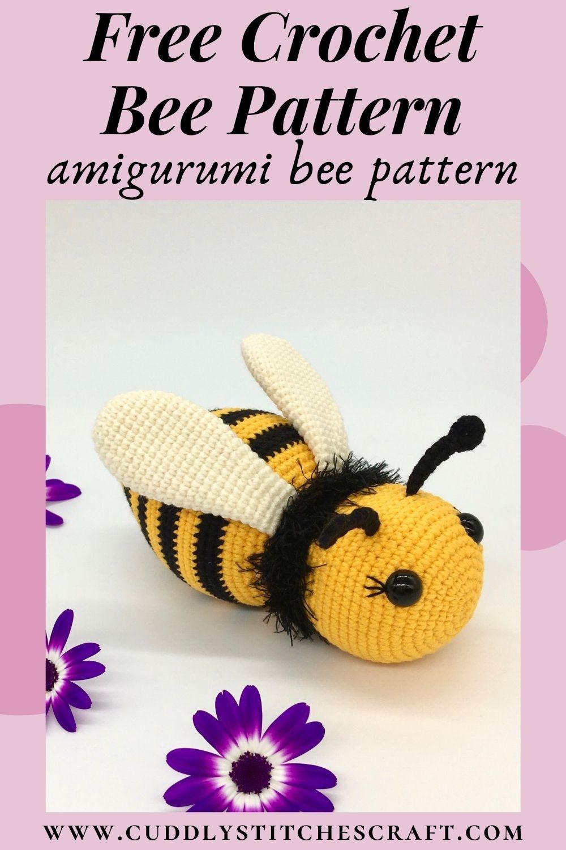 Free crochet bee pattern, Free Amigurumi bee pattern