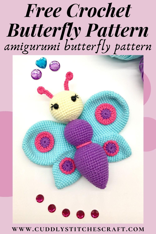 Free crochet butterfly pattern, free Amigurumi pattern by Cuddly Stitches Craft (9)