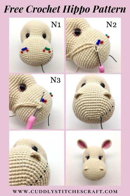 Free crochet hippo pattern, free Amigurumi hippo pattern by Cuddly Stitches Craft (4)