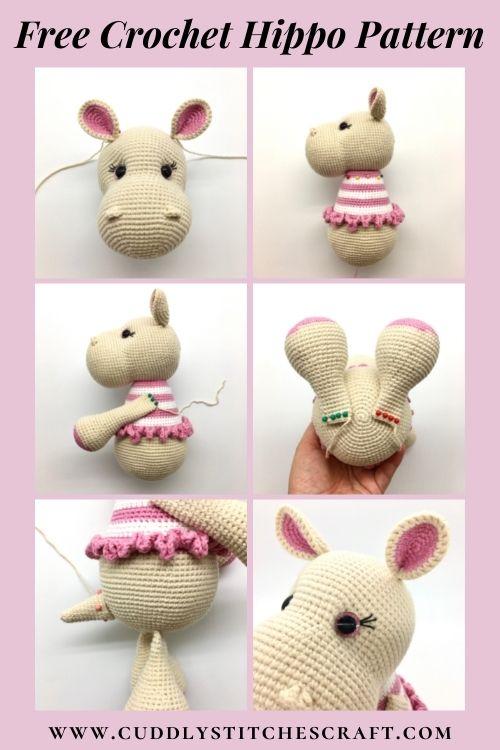 Free crochet hippo pattern, free Amigurumi hippo pattern by Cuddly Stitches Craft (7)