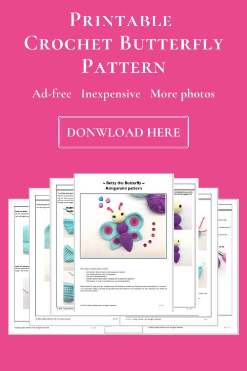 crochet butterfly pattern, Amigurumi pattern by Cuddly Stitches Craft