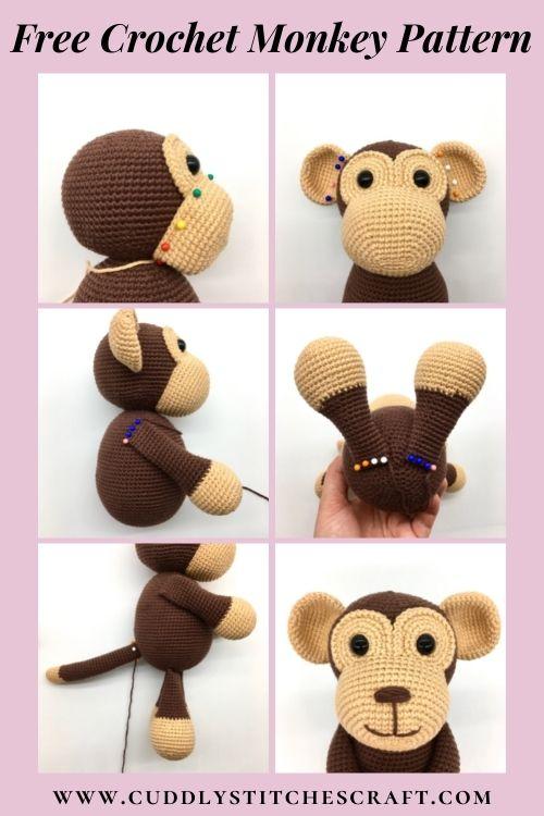 Free crochet monkey pattern, free Amigurumi monkey pattern by Cuddly Stitches Craft (8)