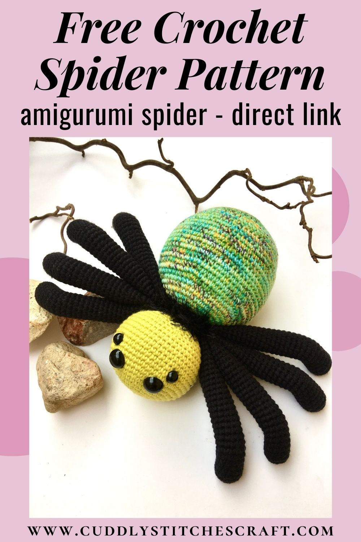 Free crochet spider pattern, free Amigurumi spider pattern by Cuddly Stitches Craft (7)