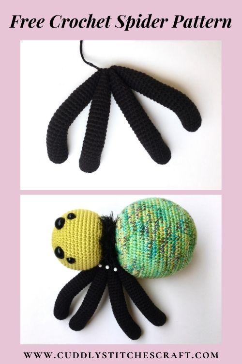 Free crochet spider pattern, free Amigurumi spider pattern by Cuddly Stitches Craft