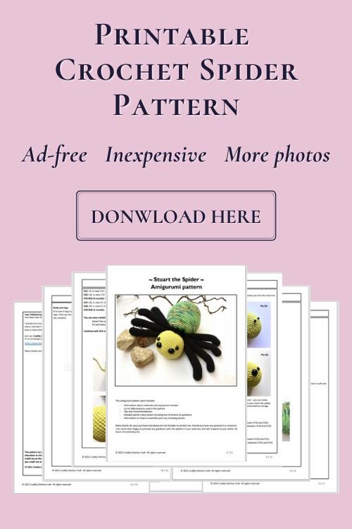 crochet spider pattern, Amigurumi spider pattern by Cuddly Stitches Craft