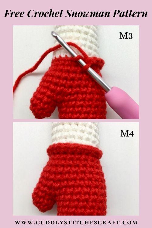Free crochet snowman pattern, free Amigurumi snowman pattern by Cuddly Stitches Craft (6)