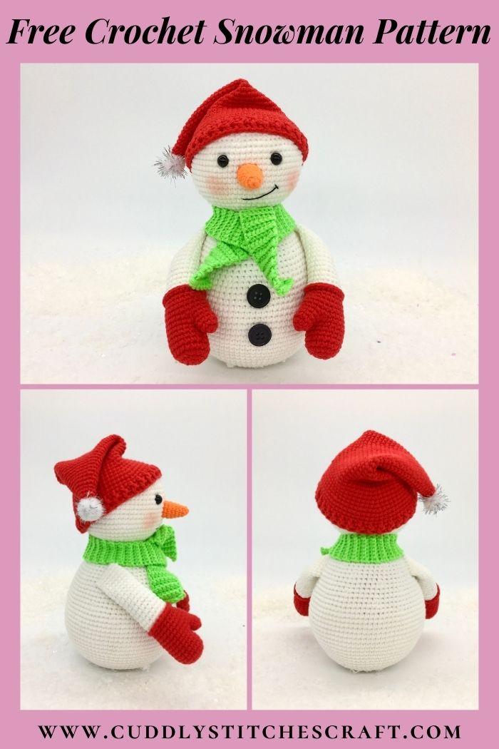 Free crochet snowman pattern, free Amigurumi snowman pattern by Cuddly Stitches Craft (8)