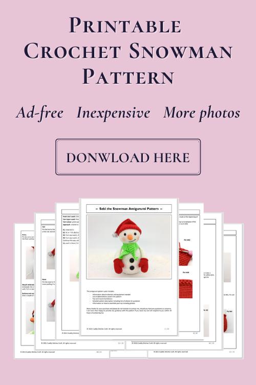 crochet snowman pattern, Amigurumi snowman pattern by Cuddly Stitches Craft
